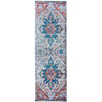 Mylife Rugs Imperia Collection Traditional Vintage Non Slip (Non-Skid) Machine Washable Medallion Distressed Runner Rug (27x77, Multicolor)