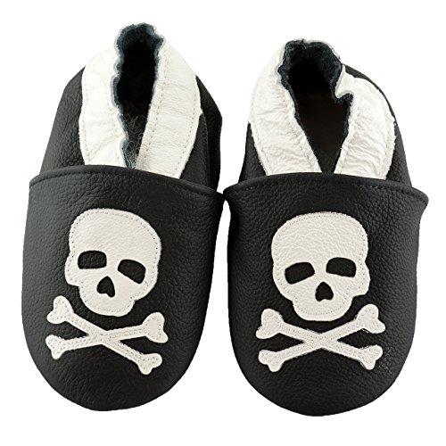 SmileBaby Premium Leder Lauflernschuhe für Jungen und Mädchen Krabbelschuhe Babyschuhe mit verschiedenen Motiven Schwarz Totenkopf