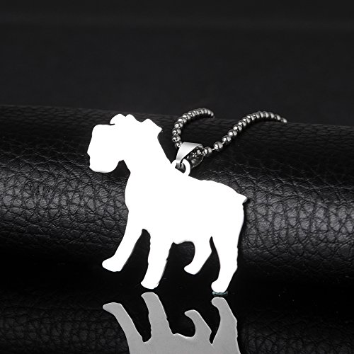 Schnauzer Natural (Stainless Steel Natural Ear Cross Breed Miniature Normal Schnauzer Pet Dog Tag Breed Collar Charm Pendant Necklace)