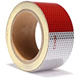 Reflective Tape Red White DOT C2 Reflector Tape - Reflective Safety Stickers Waterproof For Trailers Vehicles Trucks Cars Motorcycles Bicycles (RED/WHITE 2'' X 30')