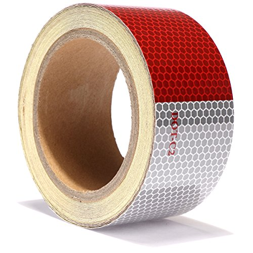 Reflective Tape Red White DOT C2 Reflector Tape - Reflective Safety Stickers Waterproof For Trailers Vehicles Trucks Cars Motorcycles Bicycles (RED/WHITE 2'' X 30') by AISEY