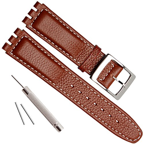 Grain Ladies Watch Band (Alligator Grain Cow Leather Stainless Steel Buckle Watch Band Strap for Swatch (17mm, White Stitch/Brown))