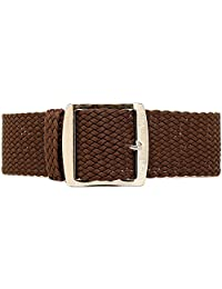 DaLuca Braided Nylon Perlon Watch Strap - Brown (Polished Buckle) : 22mm