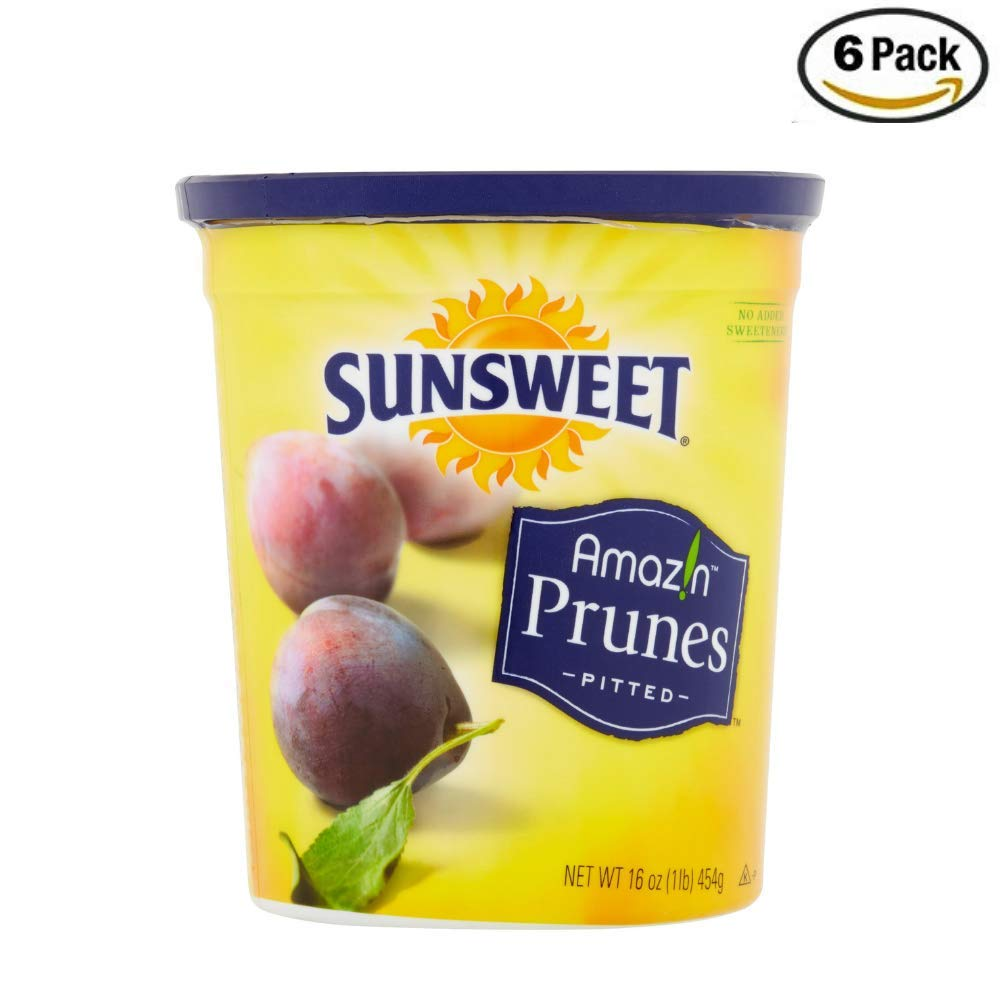 SUNSWEET Amazin Pitted Prunes, 16 oz, Pack of 6