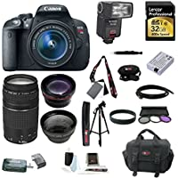 Canon EOS Rebel T5i with EF-S 18-55mm f/3.5-5.6 IS STM Zoom Lens and Canon 75-300mm f/4.0-5.6 EF III Zoom Lens plus Dedicated TTL Flash with Lexar 32GB Professional 600x SDHC UHS-I Flash Memory Card and Deluxe Accessory Kit Explained Review Image