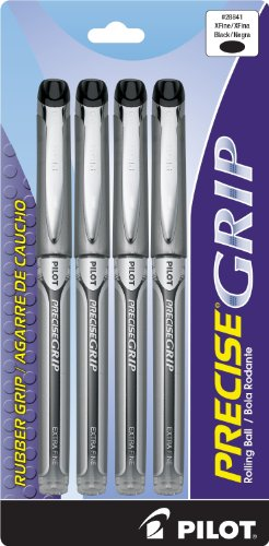 Pilot Precise Grip Liquid Ink Rolling Ball Pens Extra Fine Point 4-Pack Black Ink (28841) Dimpled Rubber Grip, Patented Precision Point Technology, Smooth Skip-Free Writing with Liquid Ink