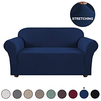 Magnificent Turquoize High Stretch 1 Piece Jacquard Lycra Loveseat Sofa Cover Slipcover Navy Couch Cover For 2 Cushion Spandex Sofa Slipcover Anti Slip Form Fit Dailytribune Chair Design For Home Dailytribuneorg