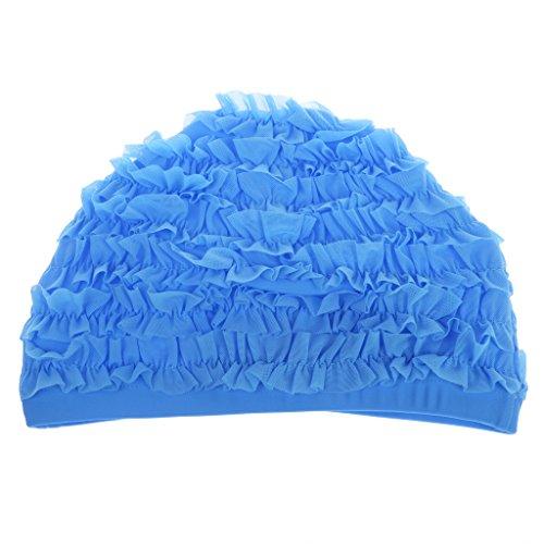 Bonnet de Bain Dentelle Souple Chapeau de Natation Piscine Sport Plage