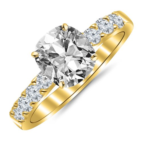 GIA Certified 104 Carat Cushion Cut/Shape 14K Yellow Gold Classic Prong Set Diamond Engagement Ring 4 Prong with a 059 Carat J Color SI1 Clarity Center Stone