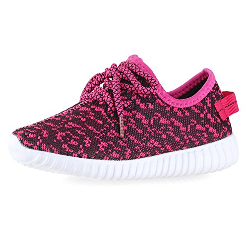 Price comparison product image BLINX Girls Jogger Woven Knit Upper Casual Sneakers Shoes Black/Fushia 11