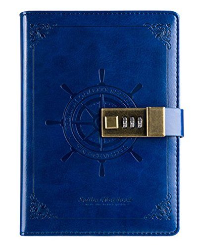 Making Memories Embossed Leather - Ai-life Retro Vintage Nautical Pattern PU Leather Journal Writing Notebook Planner Organizer, B6 Size(14x20x2.8cm) Daily Notepad Personal Sketchbook with Combination Lock