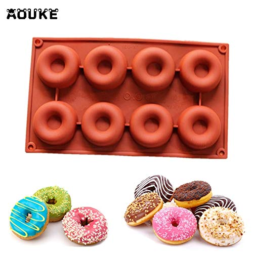 1 piece 8-Hole Donuts Shape Chocolate Silicone Mold Ice Cubes Pastry Molds Pudding Soap Mould Fondant Cake Decoration DIY Baking -