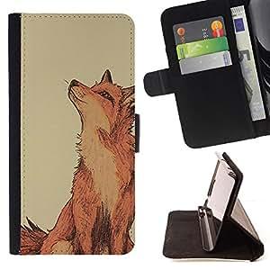 DRAWING RED SMART FOX CUTE NATURE/ Personalizada del estilo del dise???¡Ào de la PU Caso de encargo del cuero del tir????n del soporte d - Cao - For HTC Desire 820