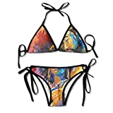 Most Fashion Maker Ladies African American Lovers Couple Painting Art Printing Summer Sexy Two Pieces Halter Bikini Set