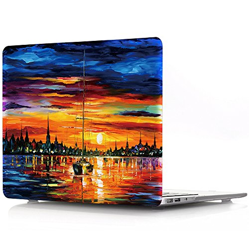 (HRH Sunrise at sea Graffiti Design Laptop Body Shell Protective Hard Case for Apple MacBook Newest Air 13