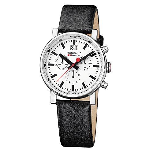 Mondaine SBB Evo Chronograph 40mm A690.30308.11SBB Reloj de pulsera Cuarzo Hombre correa de Cuero Negro: Amazon.es: Relojes