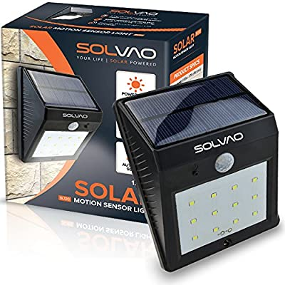 SOLVAO Solar Motion Sensor Light (12 LED) - Outdoor Security Lighting with Motion Activated On / Off Feature - Durable Waterproof & Heatproof Build - 800 mAh Solar Powered Rechargeable Battery