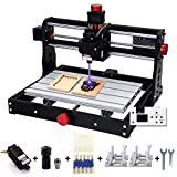 Mostics CNC 3018 PRO with 5.5-450nm Power Module CNC Machine CNC Milling Machine, 3018 Pro Wood Carving with Offline Controller, GRBL Control CANDLE Software 3 Axis, Working Area 300x180x45mm (Color: Silver)