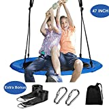 Reliancer 47'' Saucer Tree Swing for Backyard Kids w/ 2 Carabiners&10 FT Tree Swing Straps 600lbs Weight Capacity Weather Resistant 600D Fabric Durable Steel Frame Adjustable Ropes to 63inch(47inch)