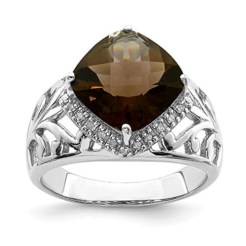 Cushion Diamond Bow Cut Ring (Smoky Quartz and .12 Ctw (H-I, I2-I3) Diamond Ring in Sterling Silver Size 7)