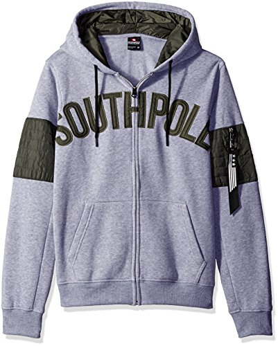 Southpole Men's Long Sleeve Hooded Pullover with Nylon Utility Details and Arm Pocket, Heather Grey, Large