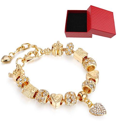 LSENG Bracelets Gold Plated Snake Chain Bracelets Pendant Crytal Heart Glass Beads Charms Bracelets for Women with Fine Gift Box (Bracelets Gold Glass Chains)