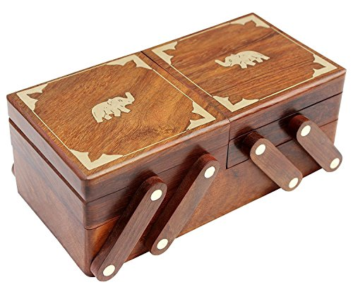 WhopperOnline Handmade Wooden Jewelry Box center Elephant Inlay Work with 2 Folding Vintage Box 8 X 4 Inch, Jewelery Box, Jewelery Storage Box, Decorative Jewelery Box for Women's