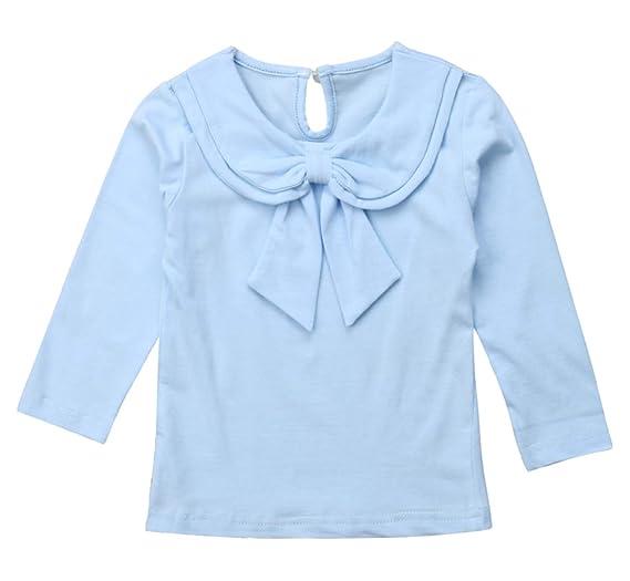 954895e7e Toddler Kids Baby Girl Cute Bowknot Peter Pan Collar Long Sleeve Basic  Plain T-Shirt