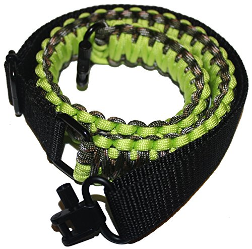 Gun Sling 550 Paracord - 2 Point Adjustable Strap W/ Metal Swivels - Rifle Shotgun Crossbow - Hunting Shooting (Fluorescent Green Camo)