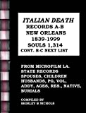 ITALIAN DEATH RECORDS A-B-NEW ORLEANS-1839-1999