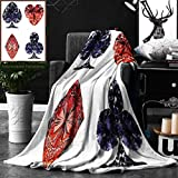 Unique Custom Double Sides Print Flannel Blankets Diamond Decor Collection Diamond Shaped Cards Poker Face Luxury Fortune Symbols Sapphi Super Soft Blanketry for Bed Couch, Twin Size 60 x 70 Inches