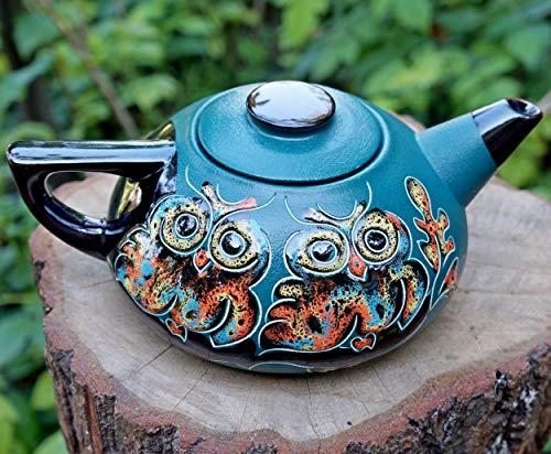 Green ceramic teapot, 33.8 oz, Handmade pottery Owl teapot, Moms gift, Christmas gifts for hostess, Oak leaf decor gift, House warming gift