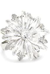 "CZ by Kenneth Jay Lane ""Garden"" Rhodium-Plated Flower Burst Cubic Zirconia Ring, Size 7"