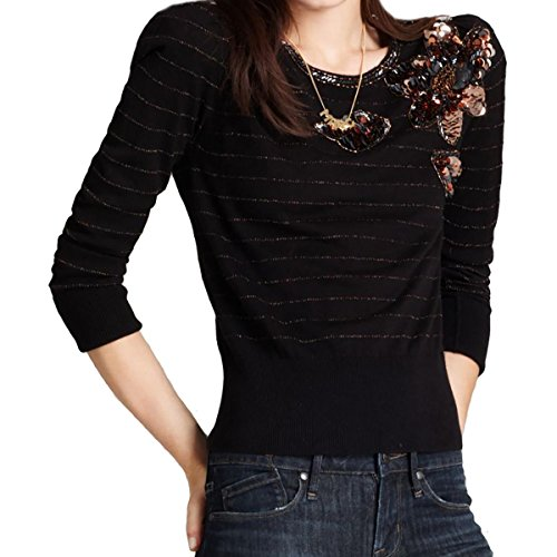 Marc by Marc Jacobs Womens Metallic Long Sleeves Pullover Sweater Black (Marc Jacobs Cropped)