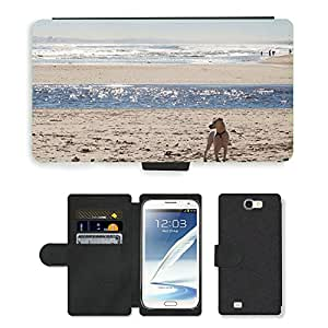 Hot Style Cell Phone Card Slot PU Leather Wallet Case // M00113903 Beach Sea Surf Dog Wave Water Sand // Samsung Galaxy Note 2 II N7100