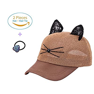 Mwfus Cute Cat Ears Mesh Baseball Visor Hat Snapback Cap Women Hip Hop Gift Hat with Head Tie