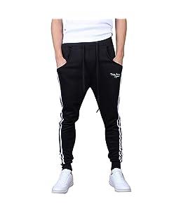 FTXJ_Men Splicing Drawstring Printed Overalls Casual Pocket Training Sport Work Casual Trouser Pants Black