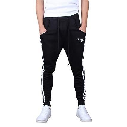 Dreamyth-Mens Men Splicing Printed Overalls Casual Pocket Sport Work Casual Trouser  Pants (Black 1fada38d9886