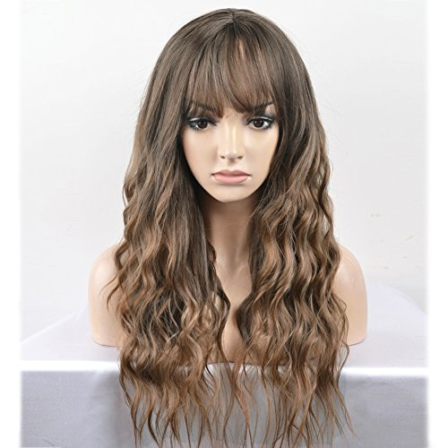 Wig With Bangs (RightOn 23'' Women Girls Lovely Synthetic Mix Color Long Curly Wigs Pin Curls with Neat Bangs Hairnet Included (Mix Brown))