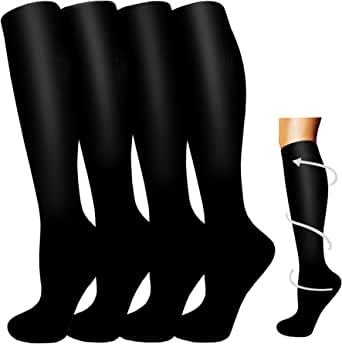 Compression Socks Women Men 4 Pairs -20-30 mmHg is Best for Medical ,Circulation,Running,Athletic,Hiking,Pregnancy