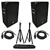 (2) Harmony Audio HA-V10P DJ 10'' 300W PA Speaker Speakon to 1/4'' Cables & Stands
