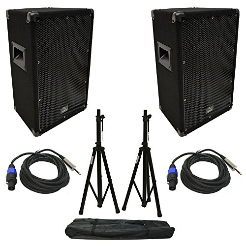 "(2) Harmony Audio HA-V10P DJ 10"" 300W PA Speaker Speakon to 1/4"" Cables & Stands"