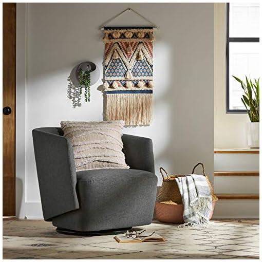 Living Room Amazon Brand – Rivet Coen Modern Upholstered Accent Swivel Chair, 30″W, Charcoal
