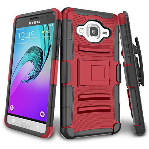 J3 Case, Express Prime Case, Amp Prime Case, TILL(TM) Shock Absorbing Rugged Holster Locking Belt Swivel Clip Defender Heavy Duty Kickstand Case Cover For Samsung Galaxy J3 2016 & 2015 - Red/Black