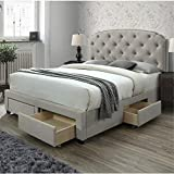 DG Casa Argo Tufted Upholstered Panel Bed Frame with Storage Drawers and Nailhead Trim Headboard, Queen Size in Beige Linen Style Fabric