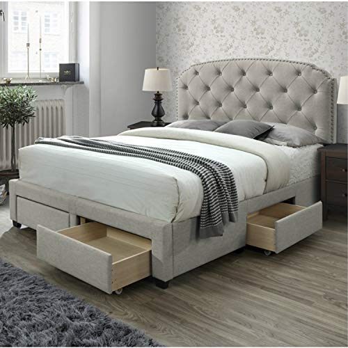 DG Casa Argo Tufted Upholstered Panel Bed Frame with Storage Drawers and Nailhead Trim Headboard