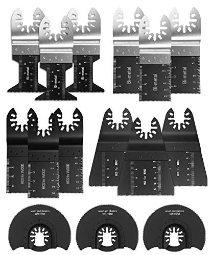 Oscillating Saw Blades 17 PC Multitool Blades Metal Wood Plastic Cutting Saw Blade Fit Dewalt Milwaukee Porter Cable Chicago Rockwell Fein Bosch Multimaster Ryobi Makita and More