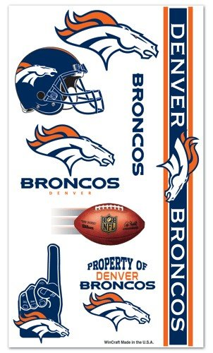 Denver Broncos NFL Temporary Tattoos (10 Tattoos)