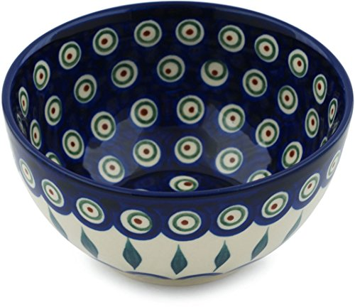 - Polish Pottery Bowl 5-inch Peacock Leaves