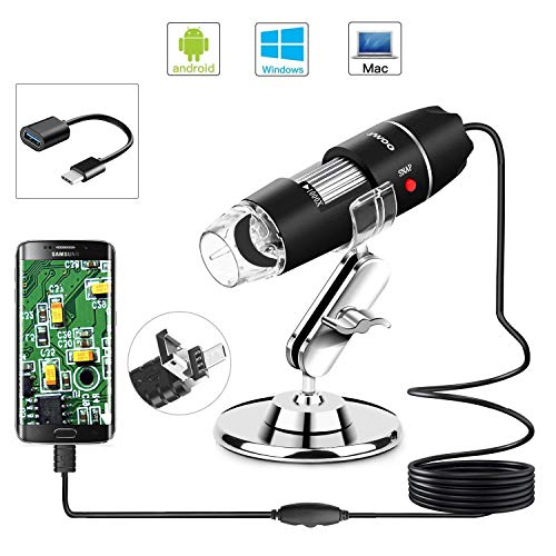 Zoom 1080p Digital Mini Microscope Camera with OTG Adapter and Metal Stand, Compatible for Android,Mac,Window,Linux ()